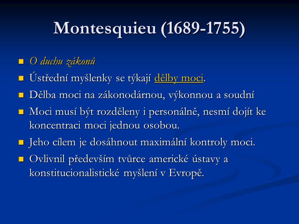 Montesquieu (1689-1755) O duchu zákonů O duchu zákonů Ústřední myšlenky se týkají dělby moci. Ústřední myšlenky se týkají dělby moci. Dělba moci na zá
