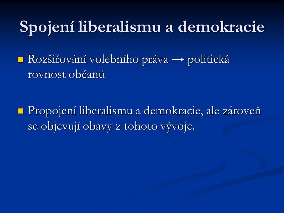 Spojení liberalismu a demokracie Rozšiřování volebního práva → politická rovnost občanů Rozšiřování volebního práva → politická rovnost občanů Propoje