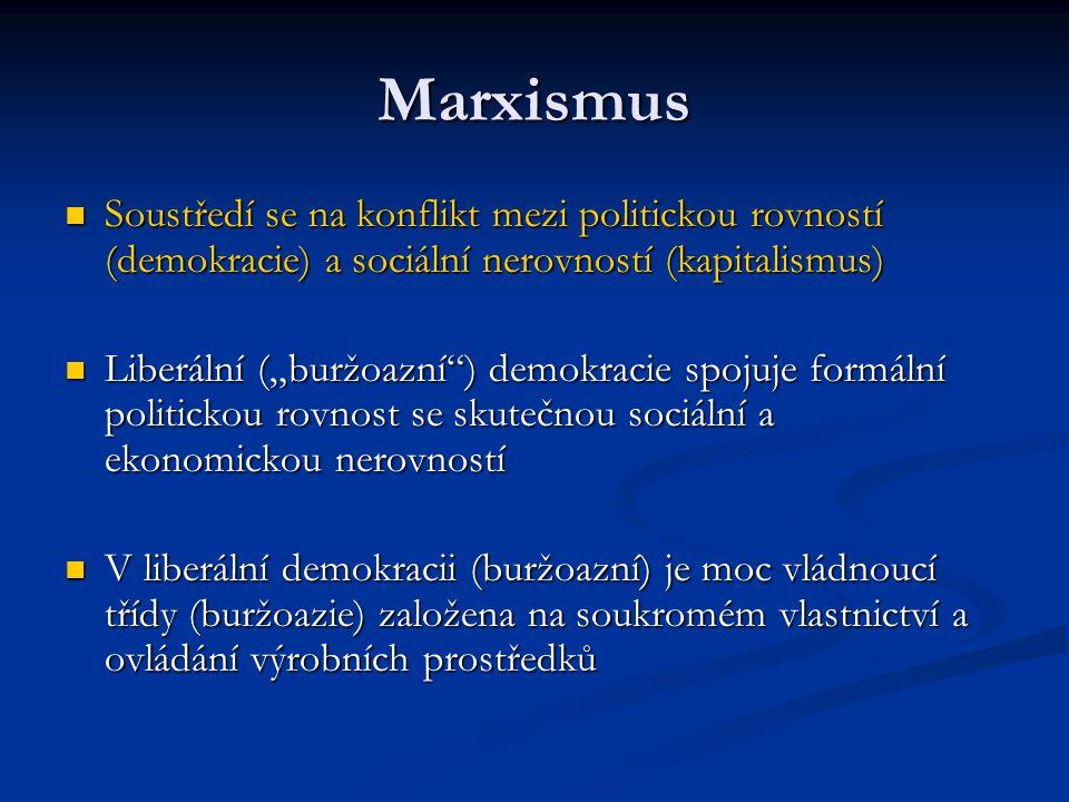 Marxismus Soustředí se na konflikt mezi politickou rovností (demokracie) a sociální nerovností (kapitalismus) Soustředí se na konflikt mezi politickou