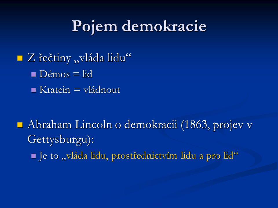 """Pojem demokracie Z řečtiny """"vláda lidu"""" Z řečtiny """"vláda lidu"""" Démos = lid Démos = lid Kratein = vládnout Kratein = vládnout Abraham Lincoln o demokra"""