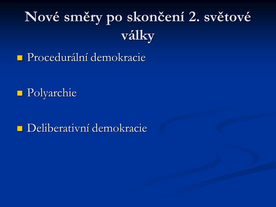 Nové směry po skončení 2. světové války Procedurální demokracie Procedurální demokracie Polyarchie Polyarchie Deliberativní demokracie Deliberativní d
