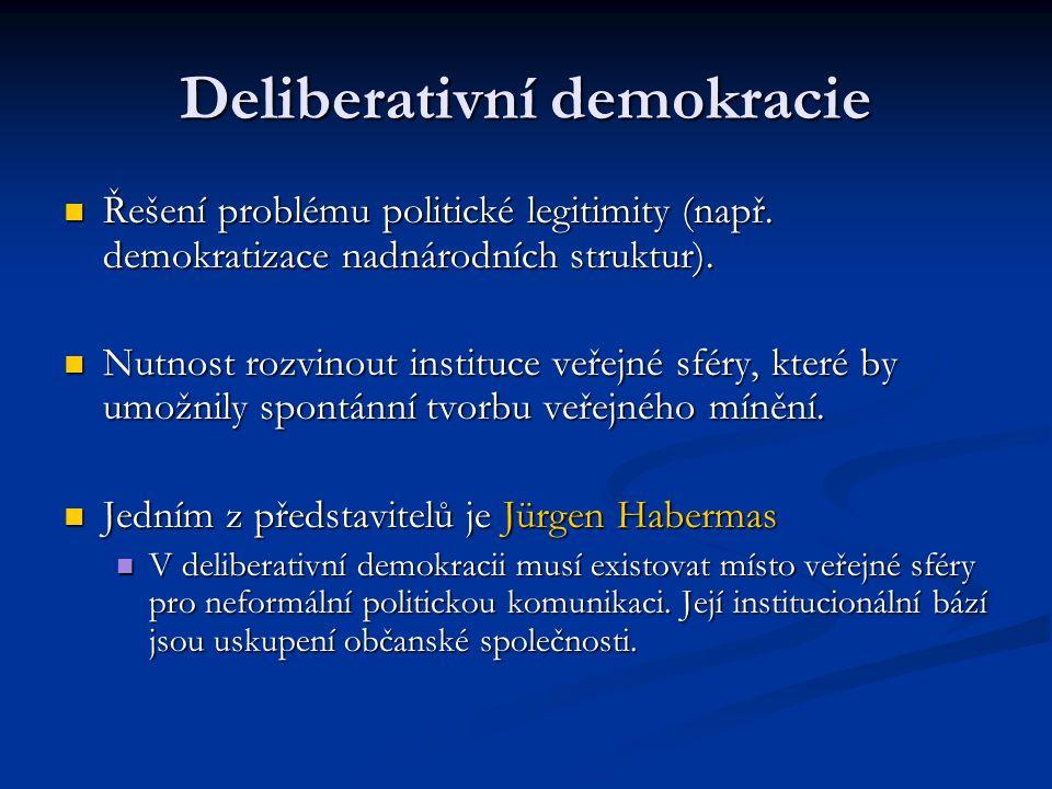 Deliberativní demokracie Řešení problému politické legitimity (např. demokratizace nadnárodních struktur). Řešení problému politické legitimity (např.