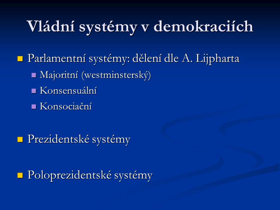 Vládní systémy v demokraciích Parlamentní systémy: dělení dle A. Lijpharta Parlamentní systémy: dělení dle A. Lijpharta Majoritní (westminsterský) Maj