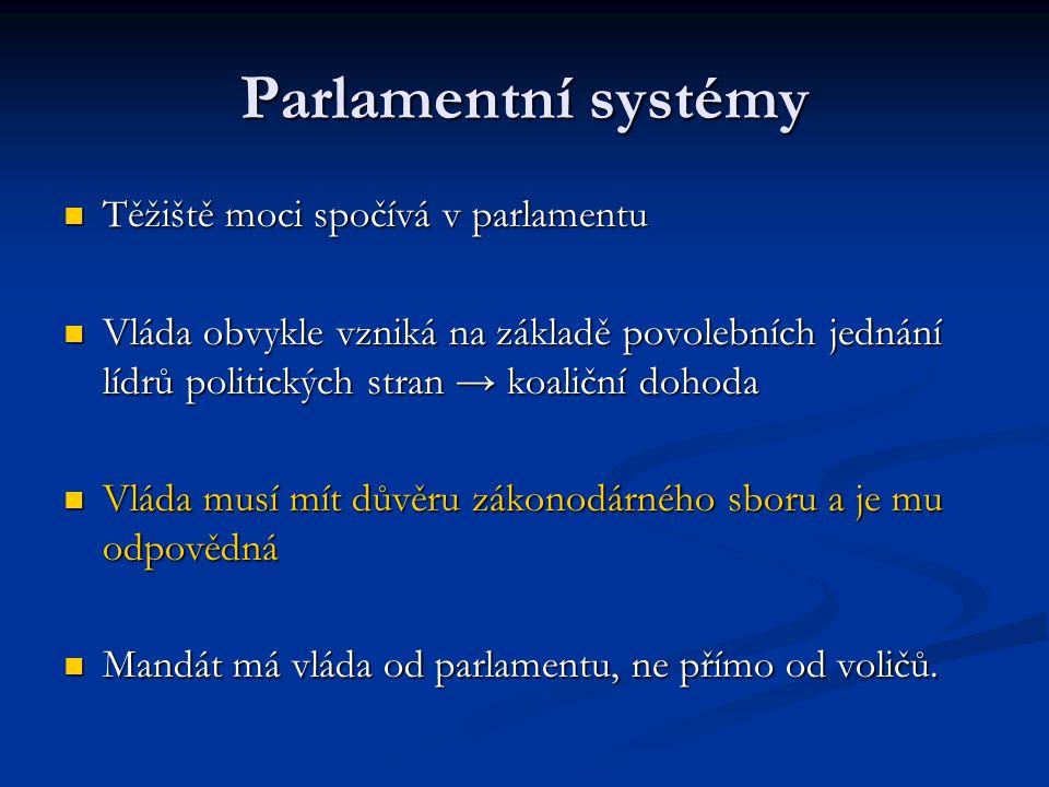 Parlamentní systémy Těžiště moci spočívá v parlamentu Těžiště moci spočívá v parlamentu Vláda obvykle vzniká na základě povolebních jednání lídrů poli