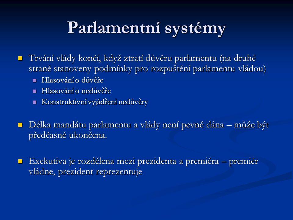 Parlamentní systémy Trvání vlády končí, když ztratí důvěru parlamentu (na druhé straně stanoveny podmínky pro rozpuštění parlamentu vládou) Trvání vlá