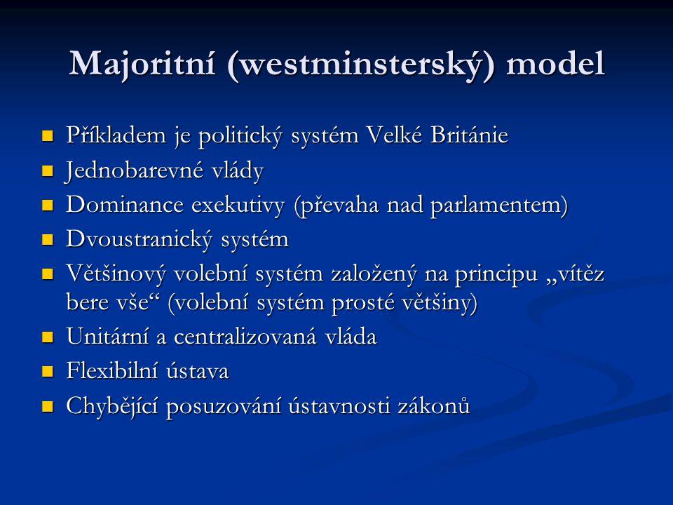Majoritní (westminsterský) model Příkladem je politický systém Velké Británie Příkladem je politický systém Velké Británie Jednobarevné vlády Jednobar