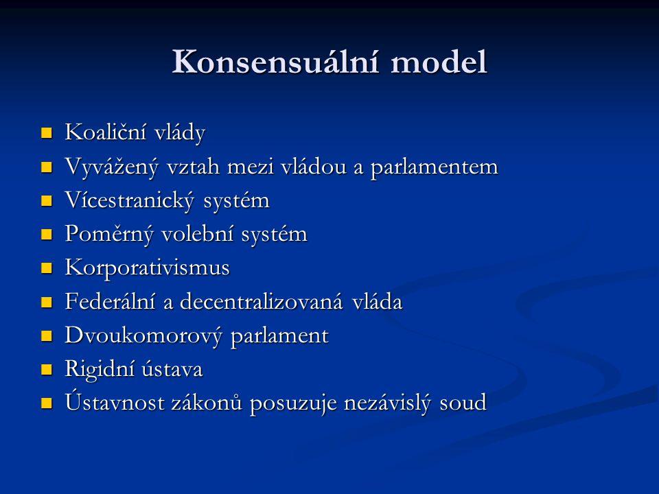 Konsensuální model Koaliční vlády Koaliční vlády Vyvážený vztah mezi vládou a parlamentem Vyvážený vztah mezi vládou a parlamentem Vícestranický systé