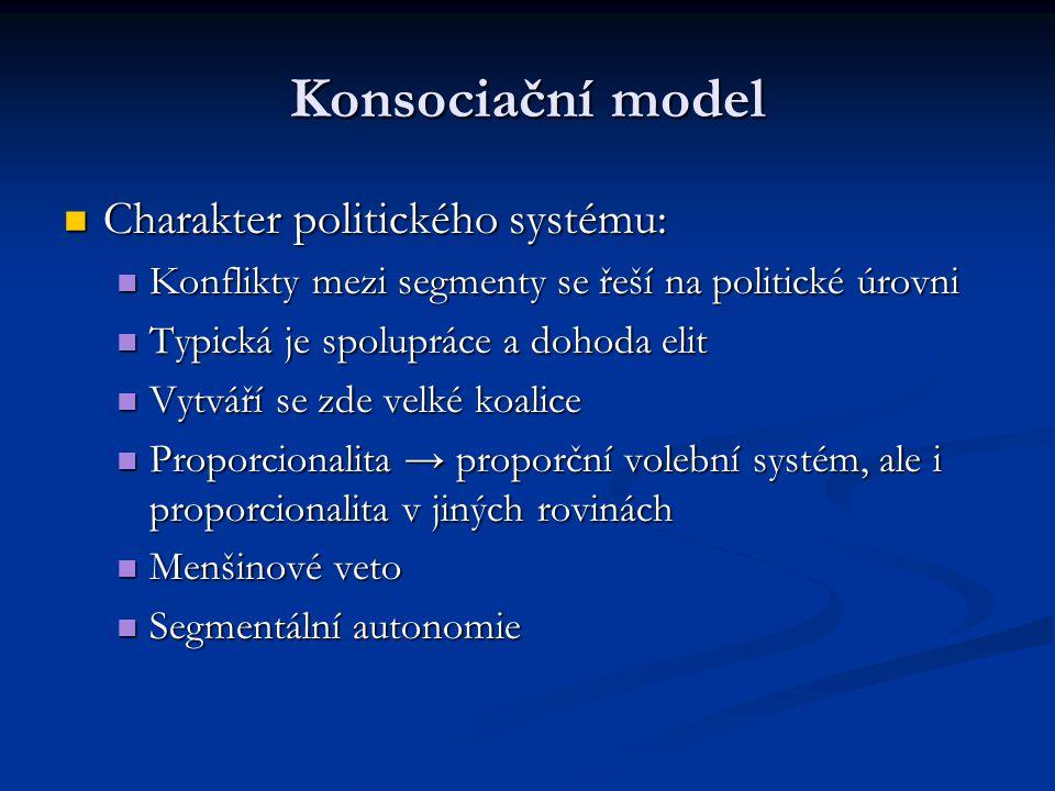 Konsociační model Charakter politického systému: Charakter politického systému: Konflikty mezi segmenty se řeší na politické úrovni Konflikty mezi seg