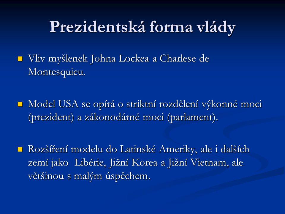 Prezidentská forma vlády Vliv myšlenek Johna Lockea a Charlese de Montesquieu. Vliv myšlenek Johna Lockea a Charlese de Montesquieu. Model USA se opír