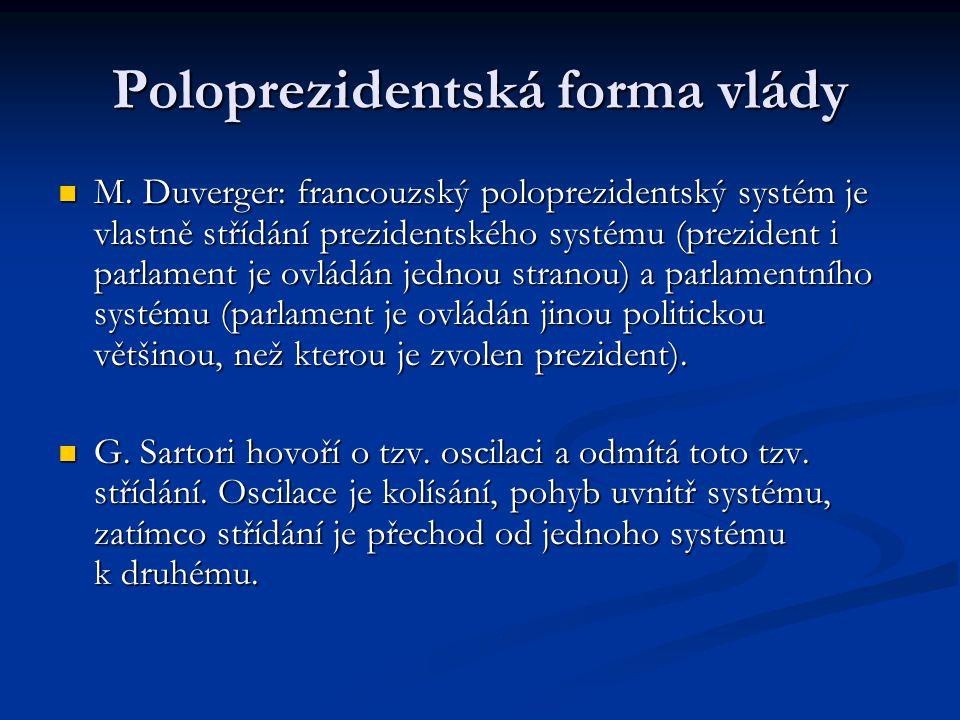 Poloprezidentská forma vlády M. Duverger: francouzský poloprezidentský systém je vlastně střídání prezidentského systému (prezident i parlament je ovl