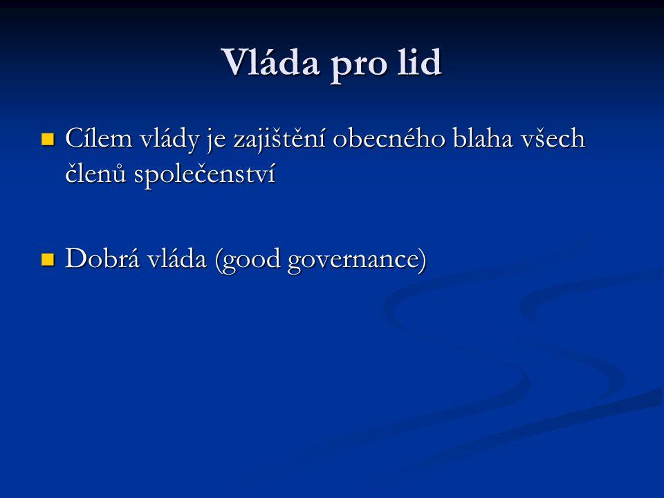 Vláda pro lid Cílem vlády je zajištění obecného blaha všech členů společenství Cílem vlády je zajištění obecného blaha všech členů společenství Dobrá