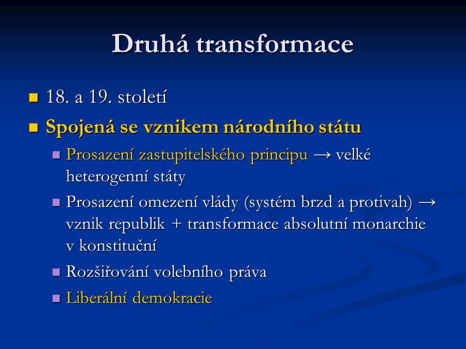 Druhá transformace 18. a 19. století 18. a 19. století Spojená se vznikem národního státu Spojená se vznikem národního státu Prosazení zastupitelského