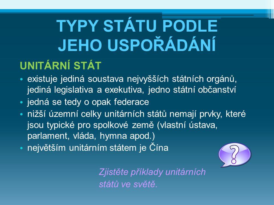 TYPY STÁTU PODLE JEHO USPOŘÁDÁNÍ UNITÁRNÍ STÁT existuje jediná soustava nejvyšších státních orgánů, jediná legislativa a exekutiva, jedno státní občan