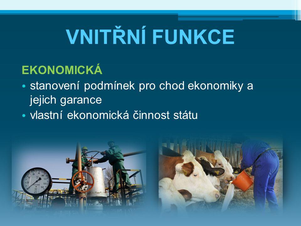 VNITŘNÍ FUNKCE EKONOMICKÁ stanovení podmínek pro chod ekonomiky a jejich garance vlastní ekonomická činnost státu