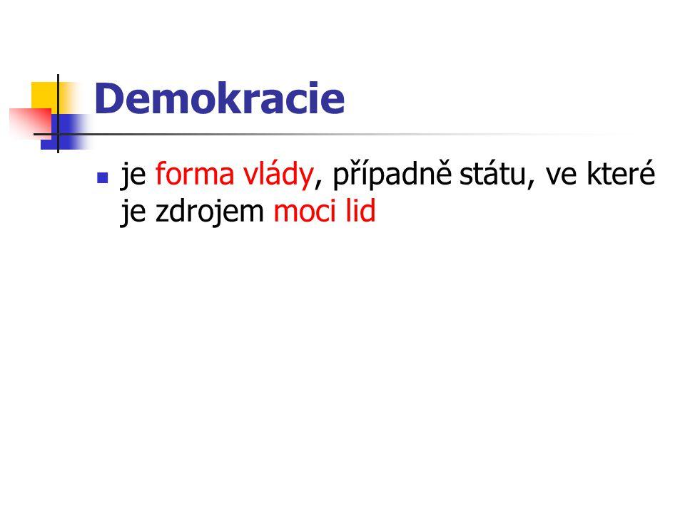 Podoby a formy demokracie přímá demokracie - lid vykonává státní moc přímo rozhodnutím, vyslovením své vůle (referendem, přímou iniciativou).