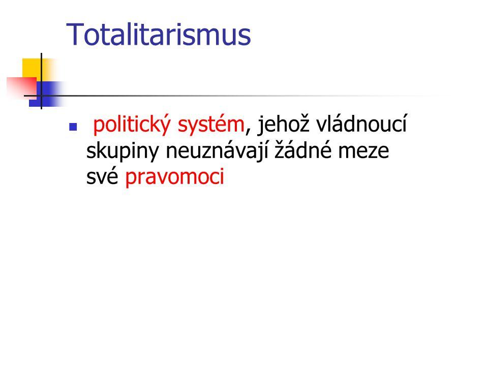 Totalitarismus politický systém, jehož vládnoucí skupiny neuznávají žádné meze své pravomoci
