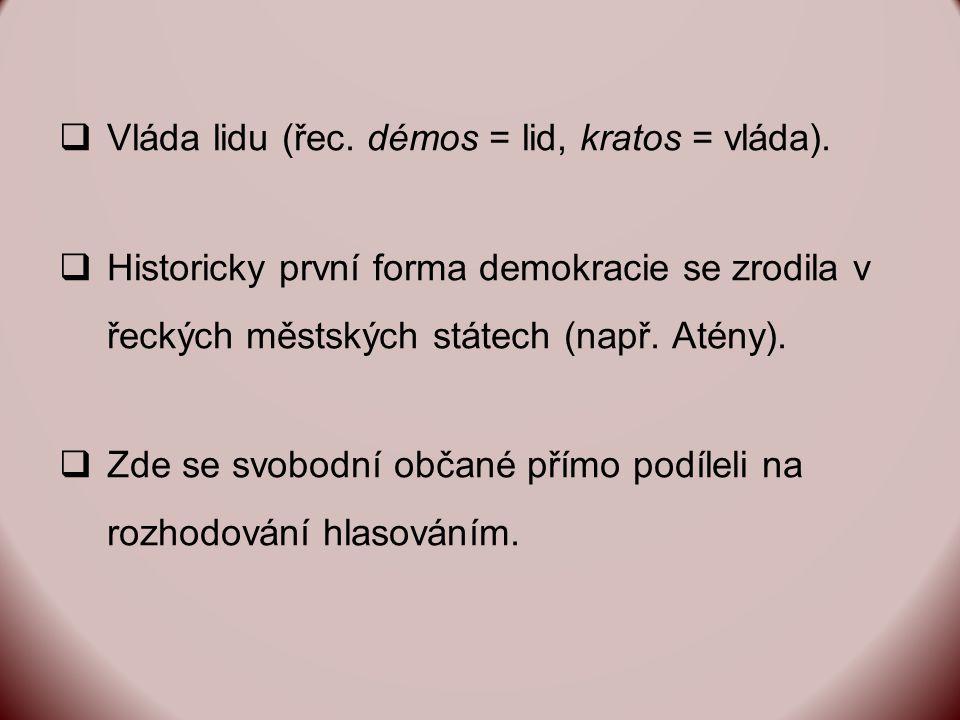  Vláda lidu (řec. démos = lid, kratos = vláda).