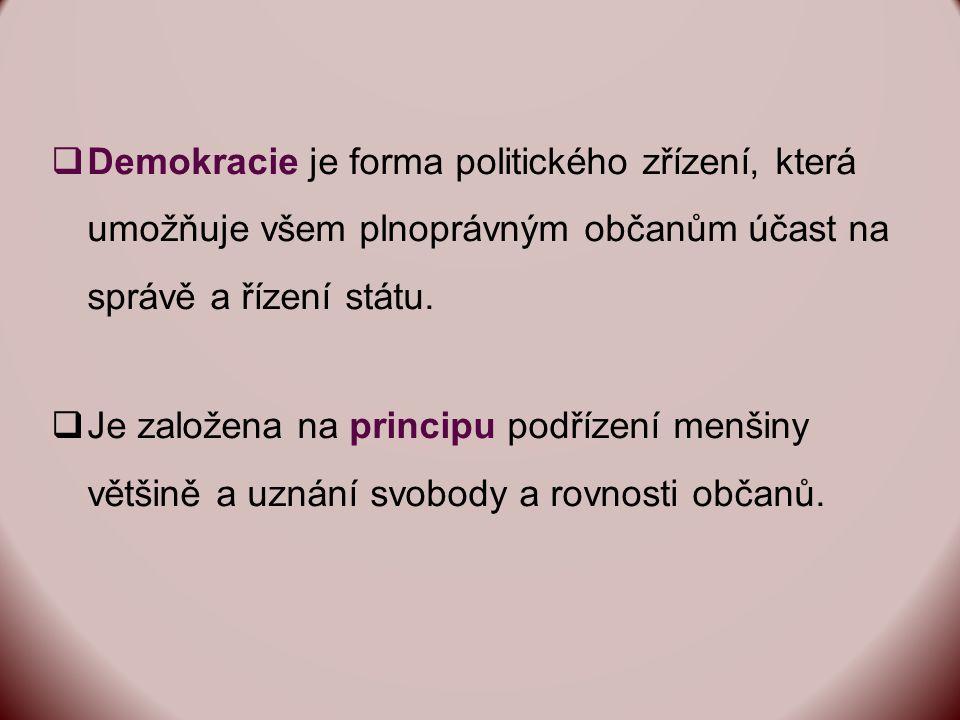  Demokracie je forma politického zřízení, která umožňuje všem plnoprávným občanům účast na správě a řízení státu.