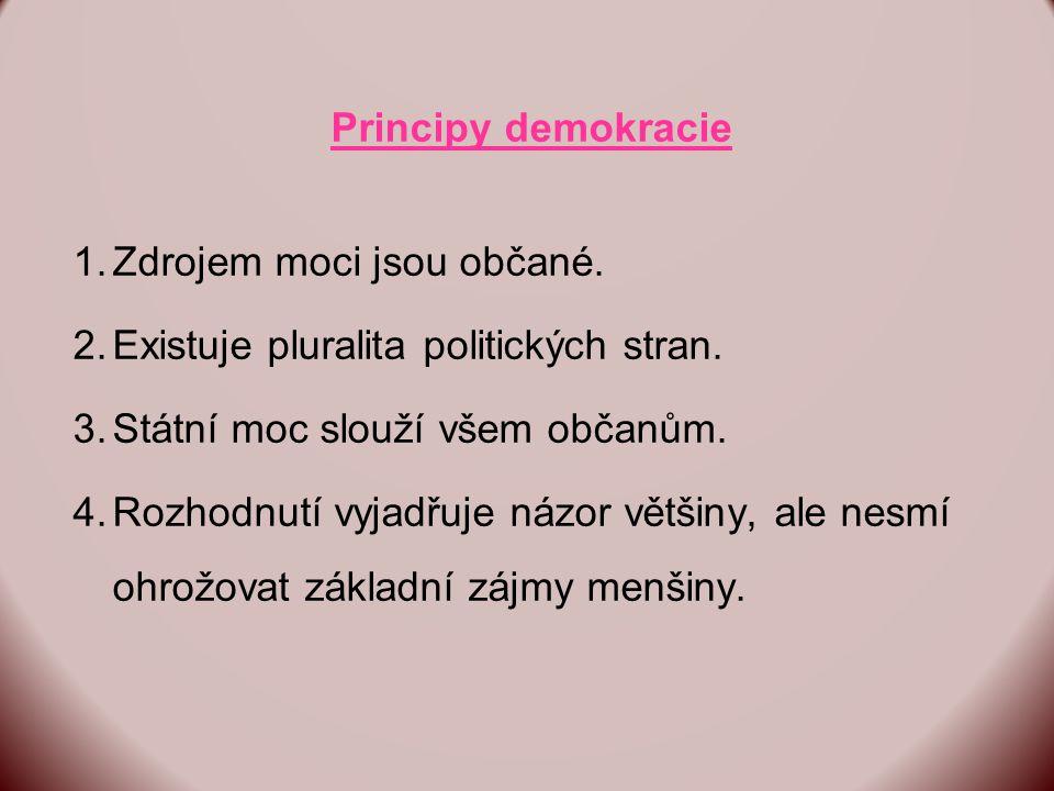 Principy demokracie 1.Zdrojem moci jsou občané. 2.Existuje pluralita politických stran.