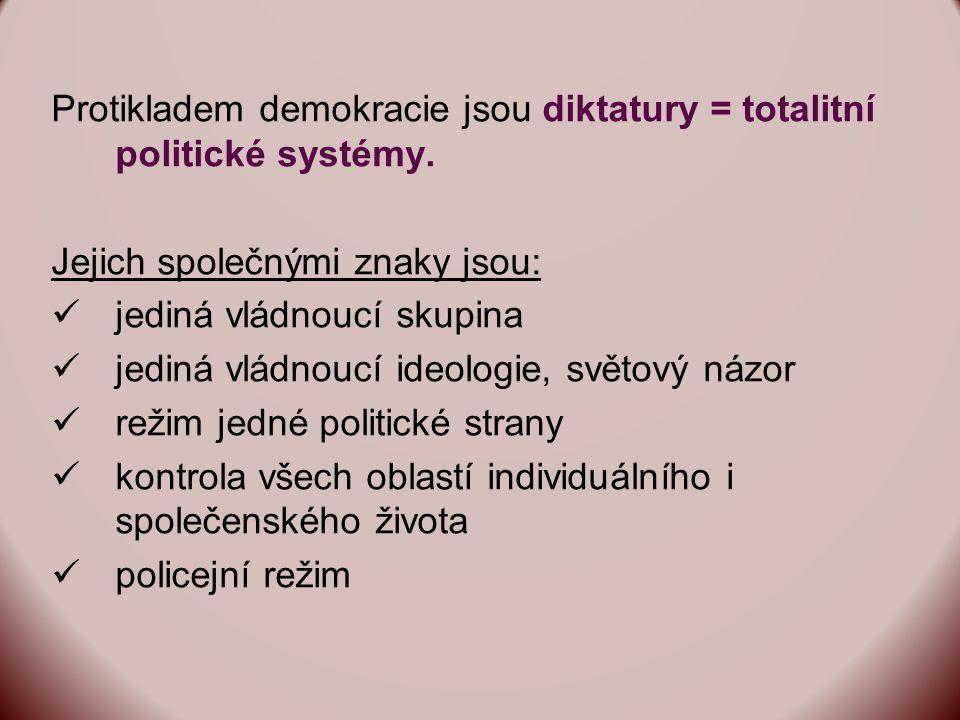 Protikladem demokracie jsou diktatury = totalitní politické systémy.