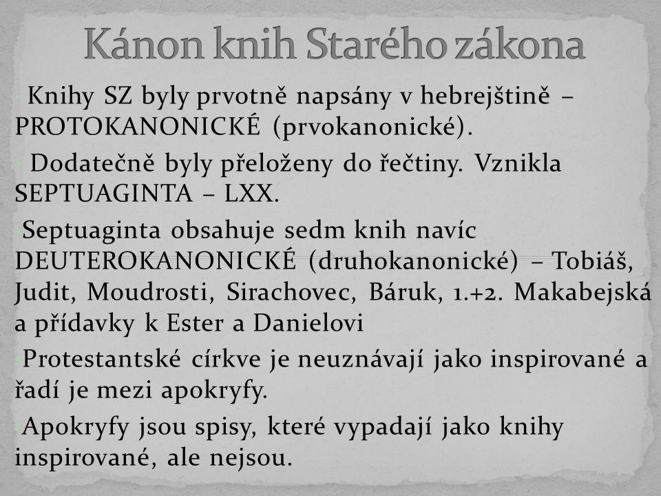 Knihy SZ byly prvotně napsány v hebrejštině – PROTOKANONICKÉ (prvokanonické).