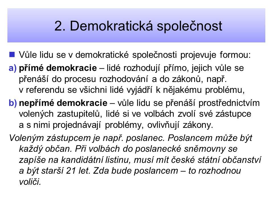 2. Demokratická společnost Vůle lidu se v demokratické společnosti projevuje formou: a) a)přímé demokracie – lidé rozhodují přímo, jejich vůle se přen