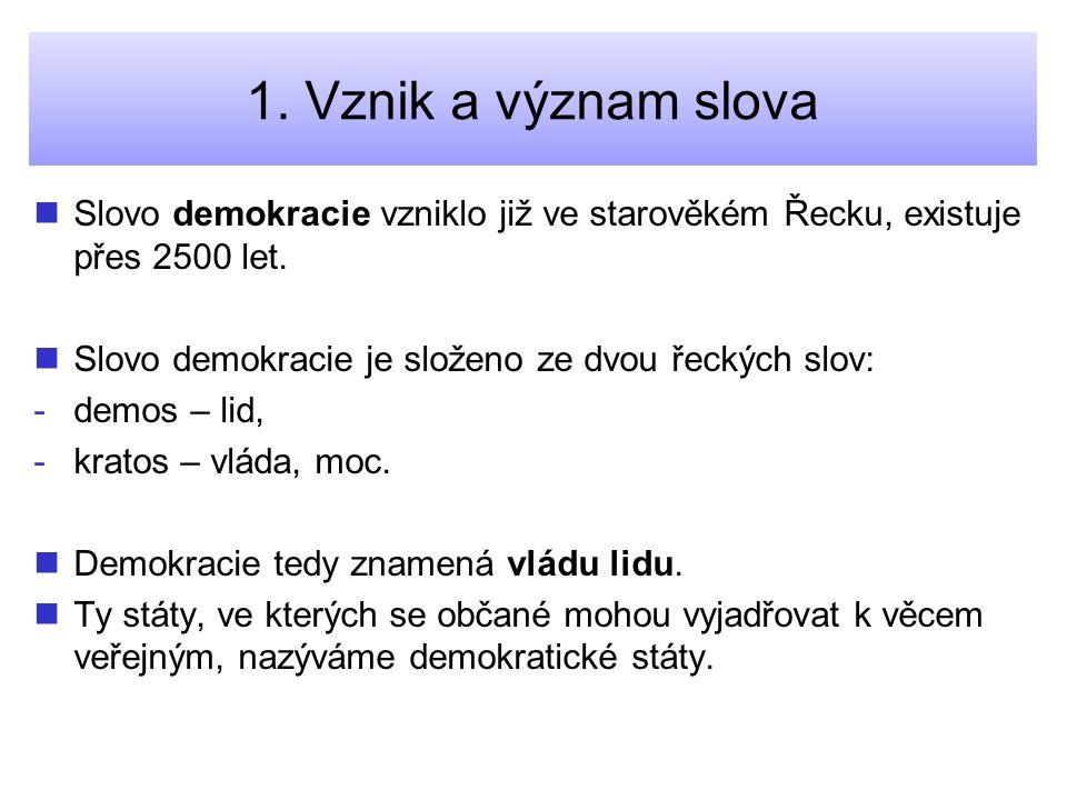 Řešení úloh Správné odpovědi: 1.Demokracie znamená vládu lidu.