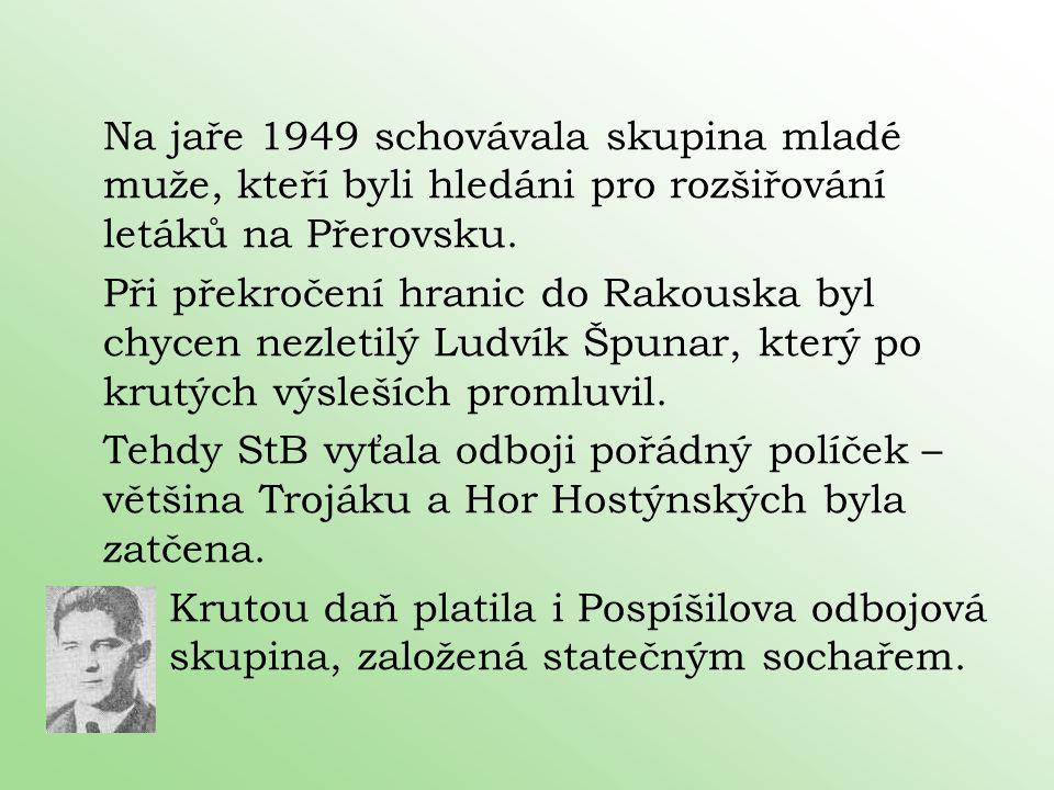 Na jaře 1949 schovávala skupina mladé muže, kteří byli hledáni pro rozšiřování letáků na Přerovsku. Při překročení hranic do Rakouska byl chycen nezle