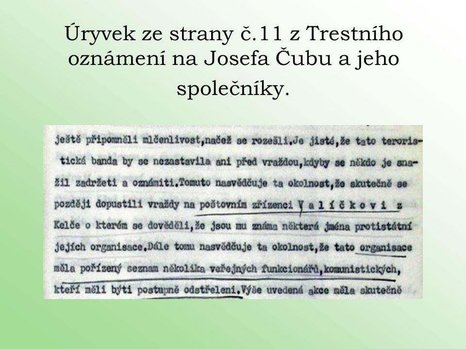 Úryvek ze strany č.11 z Trestního oznámení na Josefa Čubu a jeho společníky.