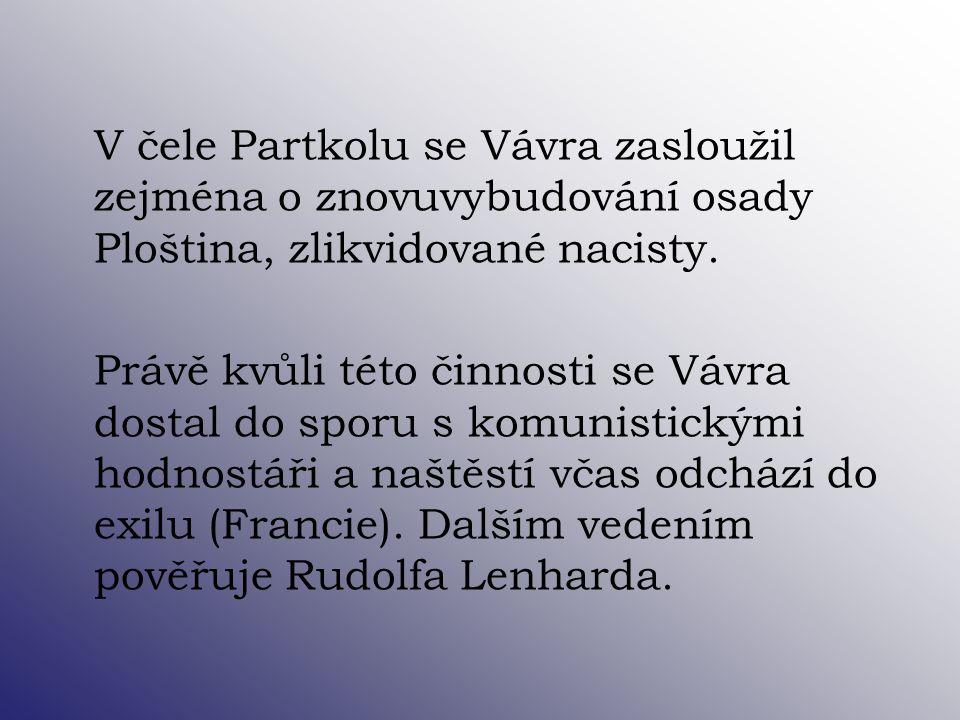 V čele Partkolu se Vávra zasloužil zejména o znovuvybudování osady Ploština, zlikvidované nacisty. Právě kvůli této činnosti se Vávra dostal do sporu