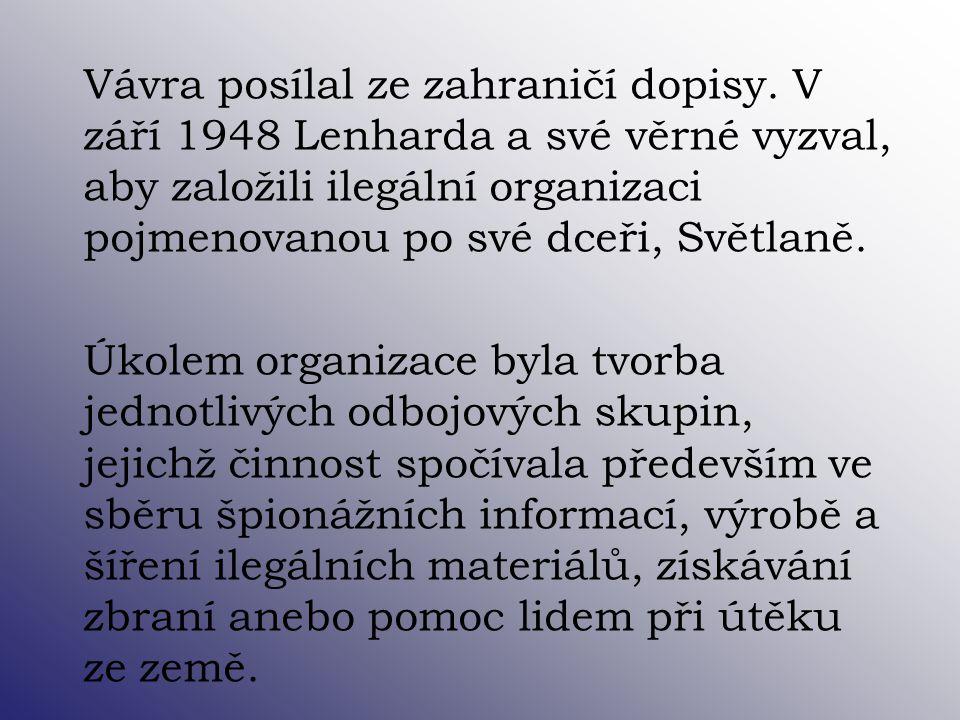 Vávra posílal ze zahraničí dopisy. V září 1948 Lenharda a své věrné vyzval, aby založili ilegální organizaci pojmenovanou po své dceři, Světlaně. Úkol