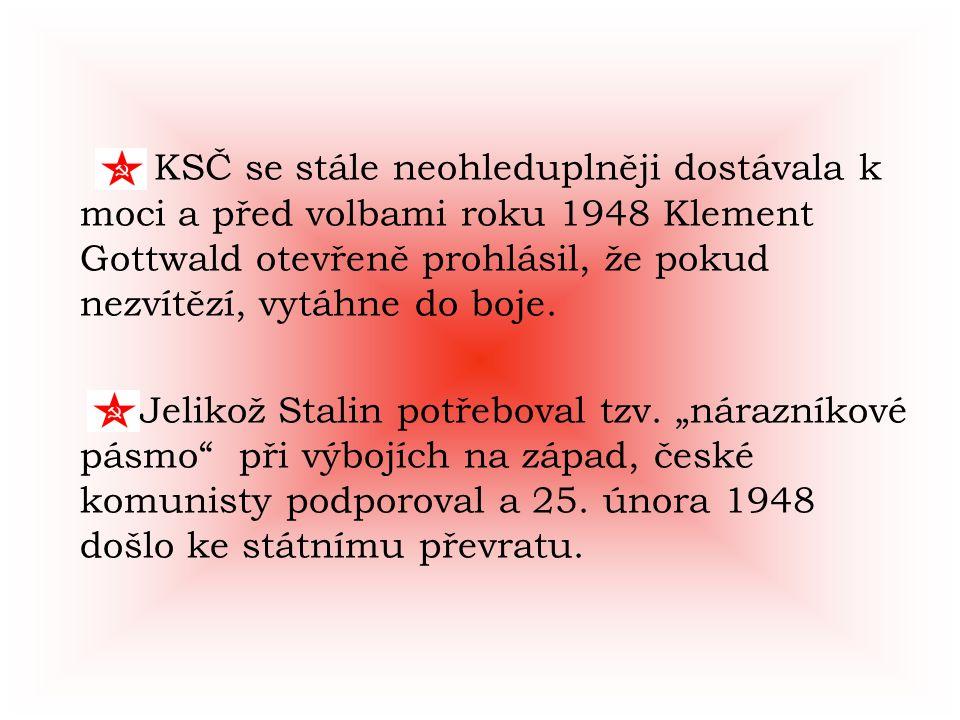 KSČ se stále neohleduplněji dostávala k moci a před volbami roku 1948 Klement Gottwald otevřeně prohlásil, že pokud nezvítězí, vytáhne do boje. Jeliko