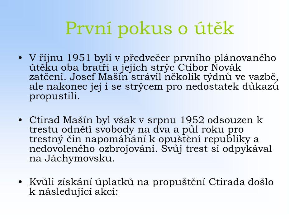 První pokus o útěk V říjnu 1951 byli v předvečer prvního plánovaného útěku oba bratři a jejich strýc Ctibor Novák zatčeni. Josef Mašín strávil několik