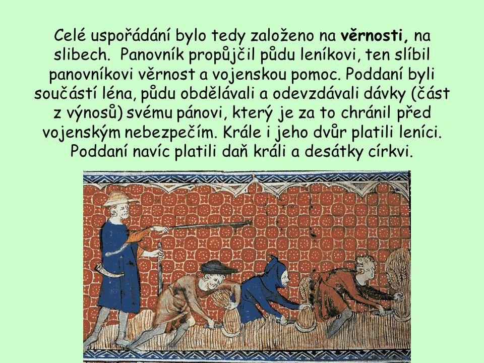 Středověká společnost Feudalismus – hierarchická společnost založená na lenních vztazích Lenní pán vazal Léno= převážně půda Držba půdy výměnou za slu