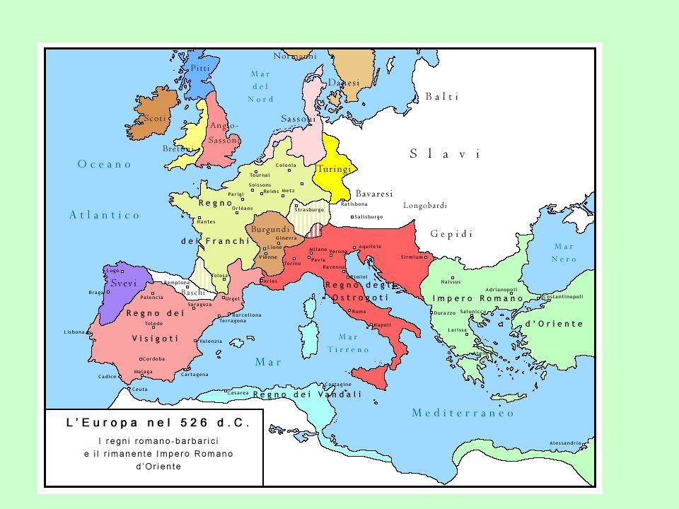 Vznikla barbarská království Ostrogótské Langobardské Vizigótské Vandalské Burgundské Anglosaské