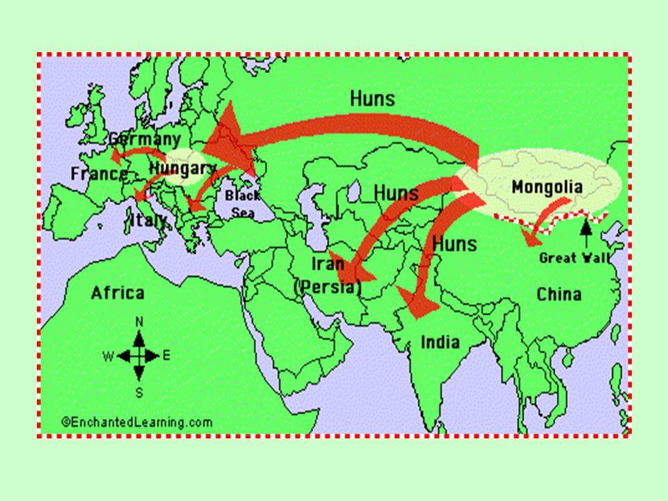 Kdo byli Hunové? pocházeli z dálného východu (hranice dnešní Číny a Koreji) Už tehdy společenství různých kmenů Roku 214 př. n. l. na obranu proti nim