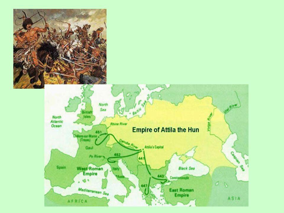 Útočil se střídavými úspěchy na území západo- i východořímské říše 451 poražen společnými silami Vizigótů a Římanů (velel Flavius Aetius) v bitvě na Katalaunských polích (či bitva u Chalon)- sev.vých.