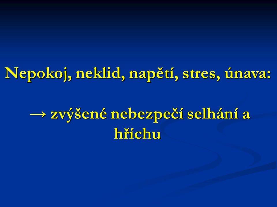 Nepokoj, neklid, napětí, stres, únava: → zvýšené nebezpečí selhání a hříchu → zvýšené nebezpečí selhání a hříchu
