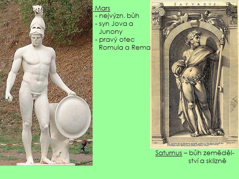 Saturnus – bůh zeměděl- ství a sklizně Mars - nejvýzn. bůh - syn Jova a Junony - pravý otec Romula a Rema
