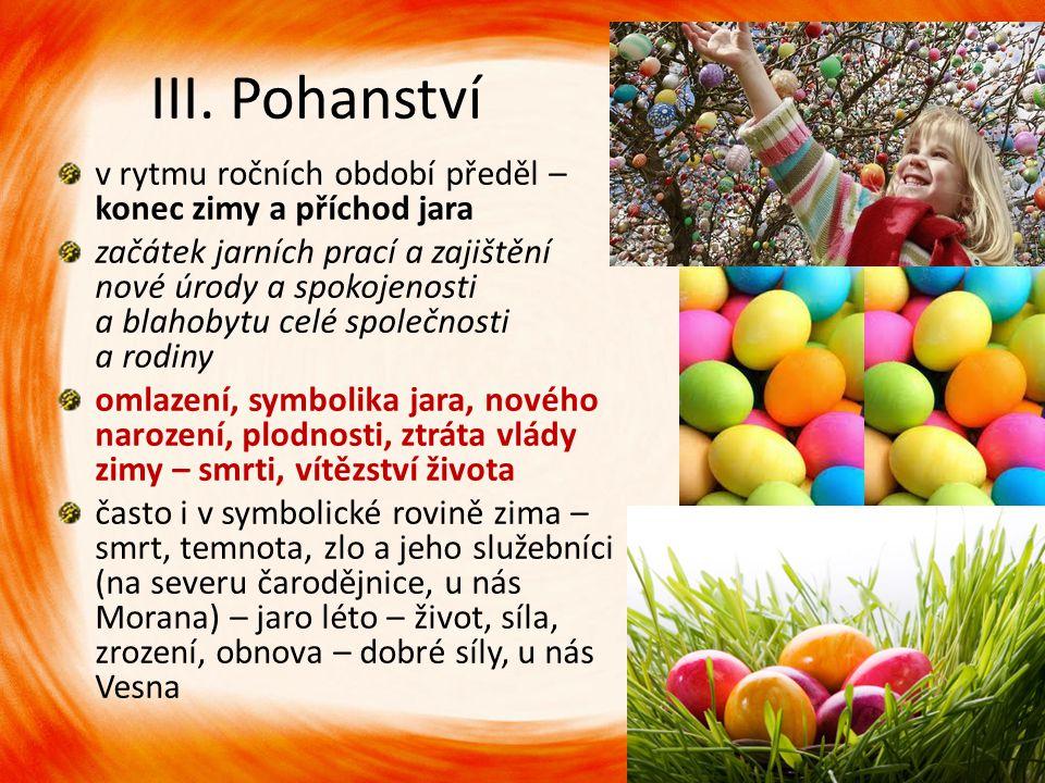 III. Pohanství v rytmu ročních období předěl – konec zimy a příchod jara začátek jarních prací a zajištění nové úrody a spokojenosti a blahobytu celé