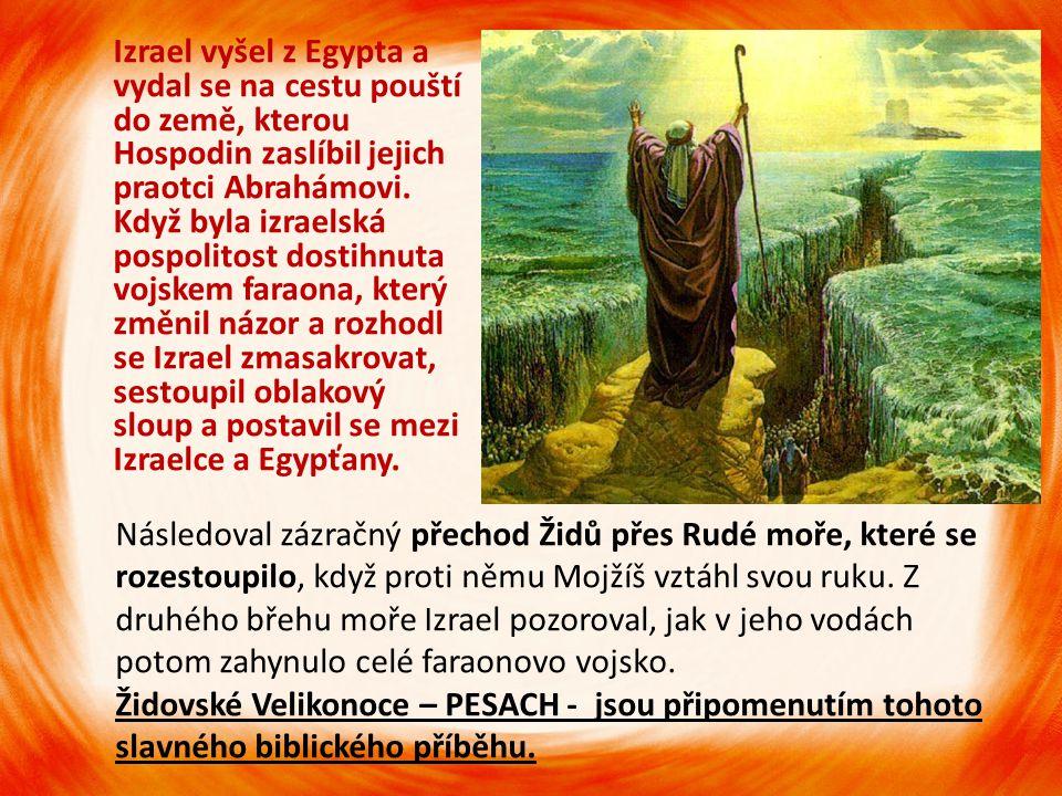 Izrael vyšel z Egypta a vydal se na cestu pouští do země, kterou Hospodin zaslíbil jejich praotci Abrahámovi. Když byla izraelská pospolitost dostihnu