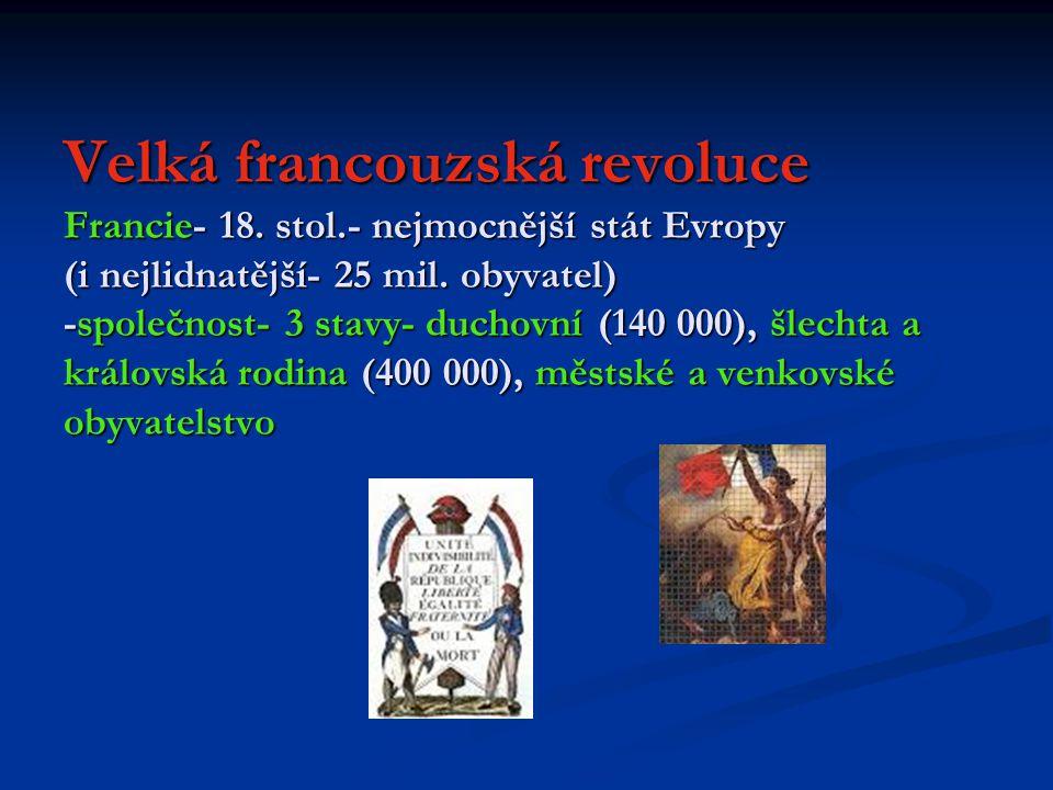 Velká francouzská revoluce Francie- 18.stol.- nejmocnější stát Evropy (i nejlidnatější- 25 mil.