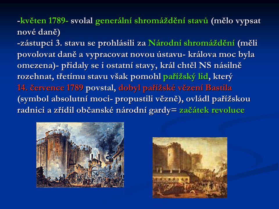 -venkov- rolníci se postavili proti vrchnosti, přepadali (klacky, vidle) zámky a spalovali listiny s poddanskými povinnostmi -šlechta- utíkala do zahraničí -NS v noci ze 4.