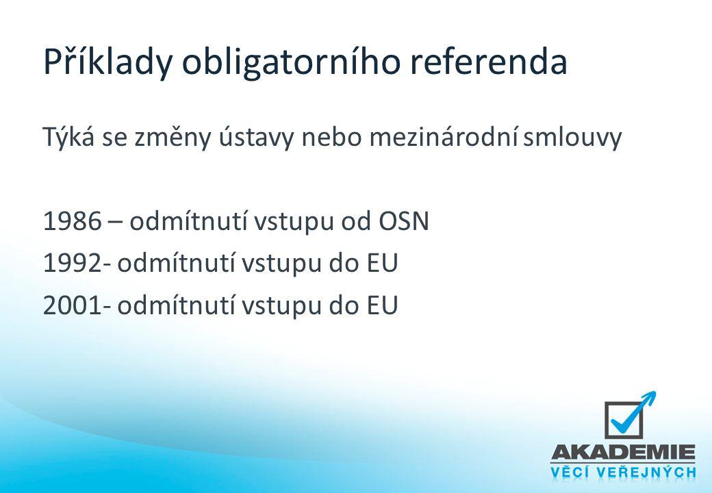 Příklady obligatorního referenda Týká se změny ústavy nebo mezinárodní smlouvy 1986 – odmítnutí vstupu od OSN 1992- odmítnutí vstupu do EU 2001- odmít