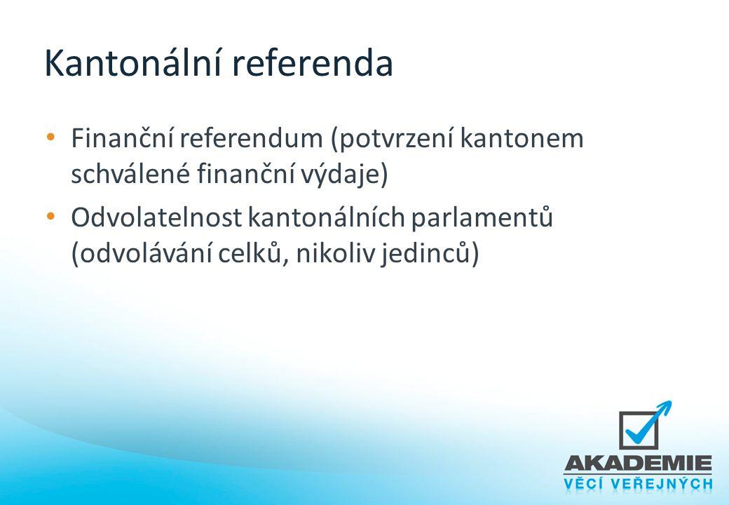 Kantonální referenda Finanční referendum (potvrzení kantonem schválené finanční výdaje) Odvolatelnost kantonálních parlamentů (odvolávání celků, nikol