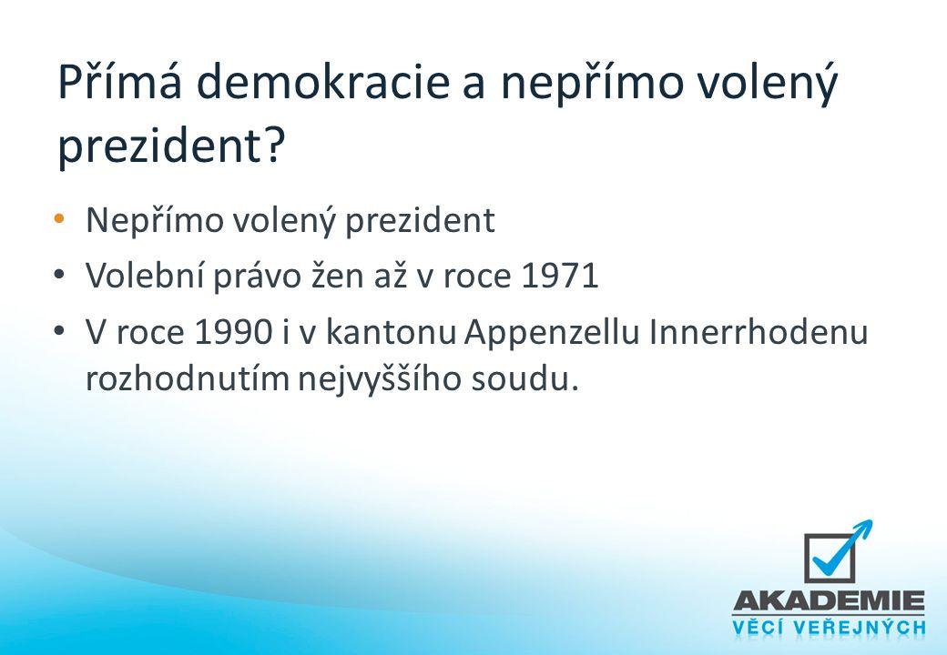 Přímá demokracie a nepřímo volený prezident? Nepřímo volený prezident Volební právo žen až v roce 1971 V roce 1990 i v kantonu Appenzellu Innerrhodenu