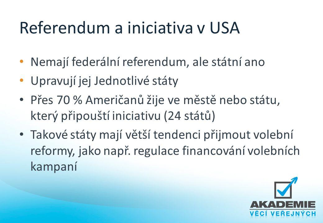 Referendum a iniciativa v USA Nemají federální referendum, ale státní ano Upravují jej Jednotlivé státy Přes 70 % Američanů žije ve městě nebo státu,