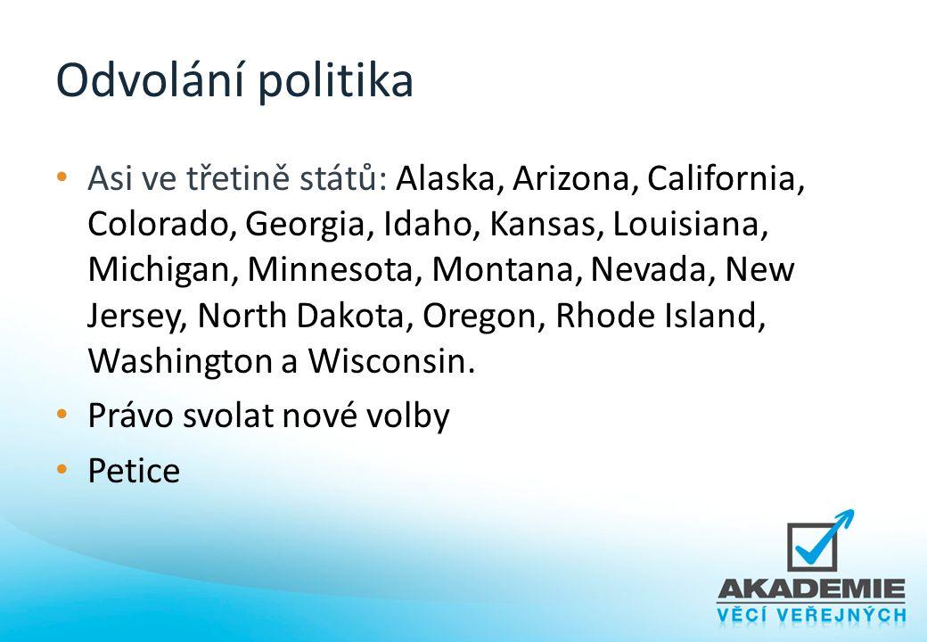 Odvolání politika Asi ve třetině států: Alaska, Arizona, California, Colorado, Georgia, Idaho, Kansas, Louisiana, Michigan, Minnesota, Montana, Nevada