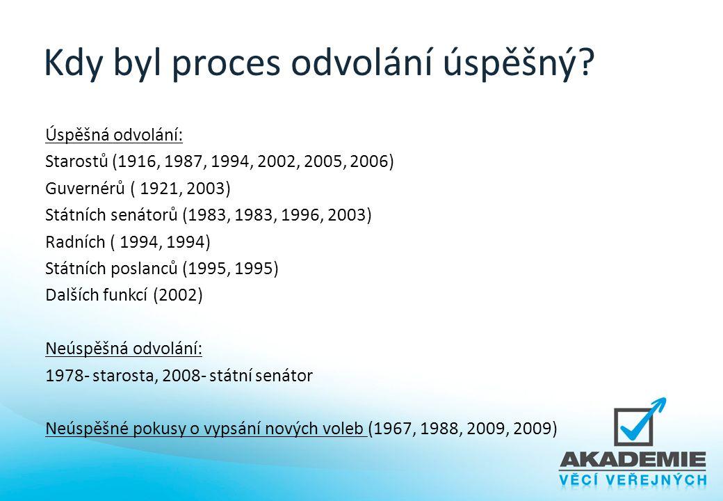 Kdy byl proces odvolání úspěšný? Úspěšná odvolání: Starostů (1916, 1987, 1994, 2002, 2005, 2006) Guvernérů ( 1921, 2003) Státních senátorů (1983, 1983