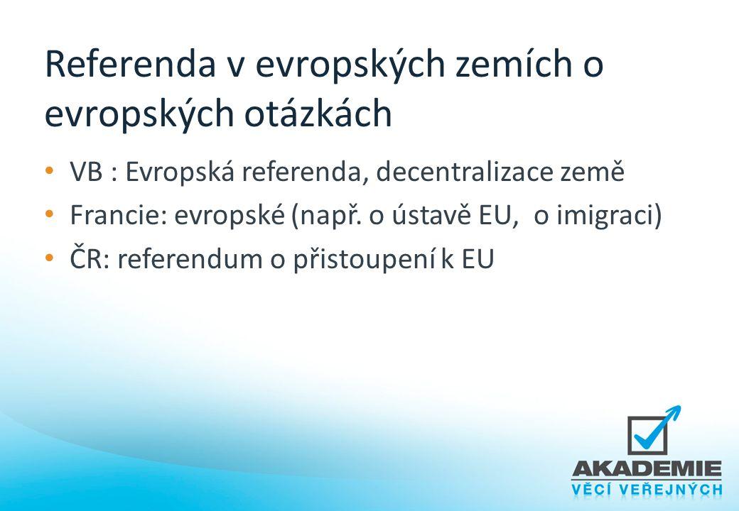 Referenda v evropských zemích o evropských otázkách VB : Evropská referenda, decentralizace země Francie: evropské (např. o ústavě EU, o imigraci) ČR: